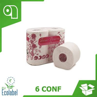 CARTA IGIENICA TISSUE FLOWERS 3 VELI (1 COLLO x 6 CONF)