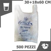 BORSA SHOPPER BIO COMPOSTABILE (30+18x60 CM) (1 COLLO x 500 PZ)