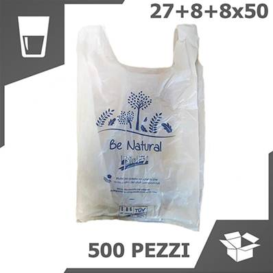 BORSA SHOPPER BIO COMPOSTABILE (27+14x50 CM) (1 COLLO x 500 PZ)
